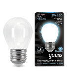 Светодиодная LED лампа Gauss LED Filament Globe OPAL E27 5W 4100K